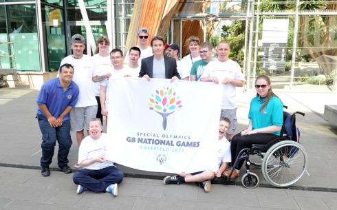 Opening ceremony (James Toseland with Special Olympics athletes)
