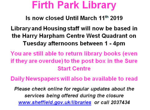 firth park library closure update